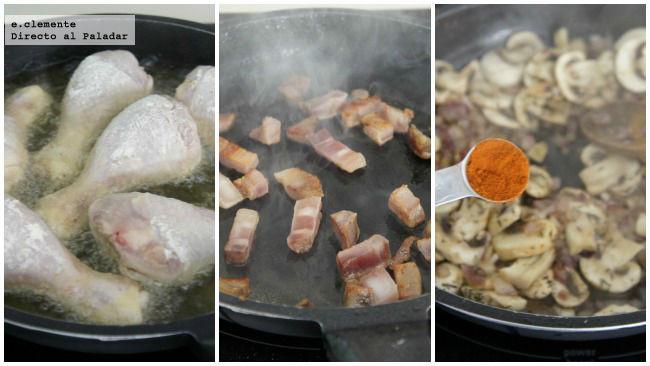 Asado de pollo con paprika, champiñones y tocino