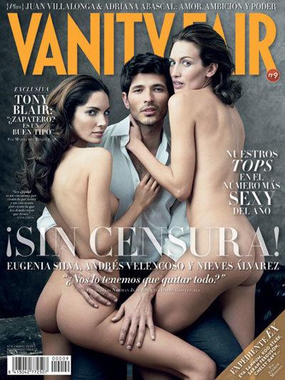 Andrés Velencoso con Eugenia Silva y Nieves Álvarez, sin censura, en Vanity Fair