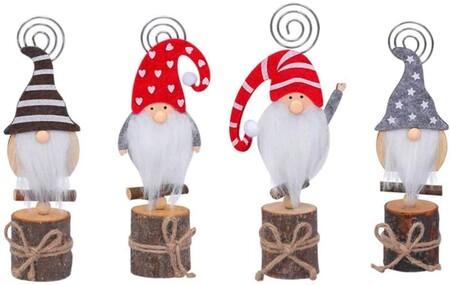 Marcasitios con forma de gnomo navideño