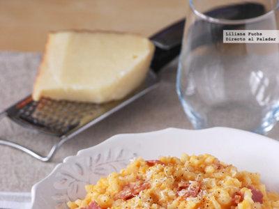 Risotto de boniato con queso curado de cabra. Receta