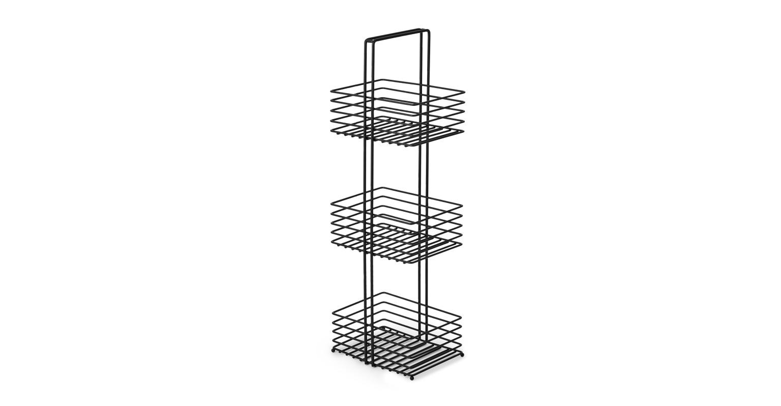EXPRESS Embla Estantería para ducha de metal de 3 niveles Embla, negro