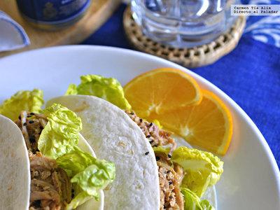 Paletilla de cerdo asada con salsa de naranja y mango. Receta con y sin Crock Pot