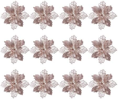 Juego de 12 adornos de purpurina con forma de estrella de Navidad