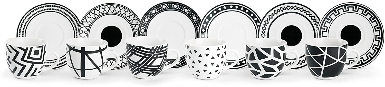 Excelsa Emily - Juego de tazas de café con platillo, porcelana, blanco/negro