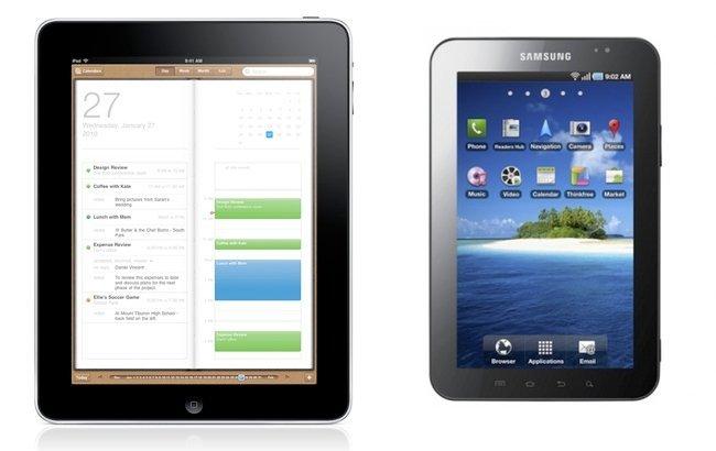 comparación pantallas ipad galaxy tab