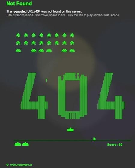 Una página en Internet te muestra un error 404 y te deja jugar un rato a los marcianitos