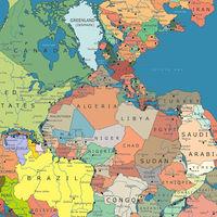 Pangea, el gigantesco continente único, redibujado en función de las fronteras del presente