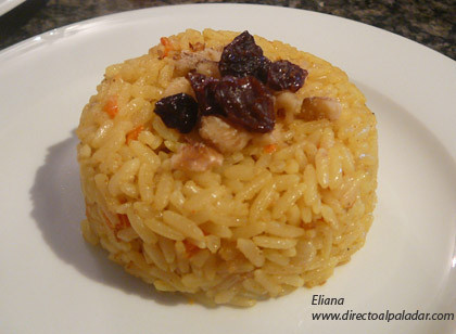 Arroz al curry y coco