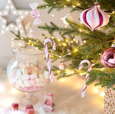 Colgante de Navidad de bastones de caramelo rosa, blanco y rojo