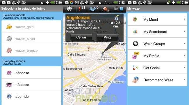 Waze: Estados de ánimo, vista de otros wazeros en tiempo real, opciones de My Waze