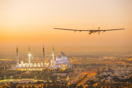 Rtw Solar Impulse 2 Is Flying Over The Sheikh Zayed Grand Mosque In Abu Dhabi Uae Undertaking Preparation Flights For The First Ever Round The World Solar Flight Which Will Be Attempted Starting Early March From Abu Dhab1 1940x1291