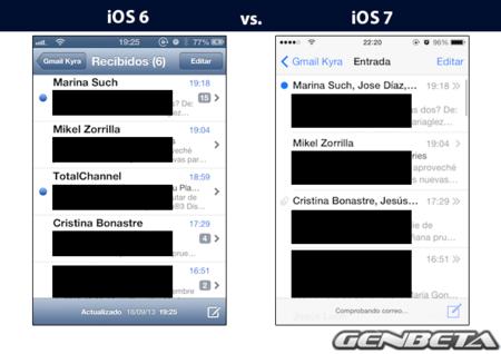 iOs 6 vs iOs 7 - correo