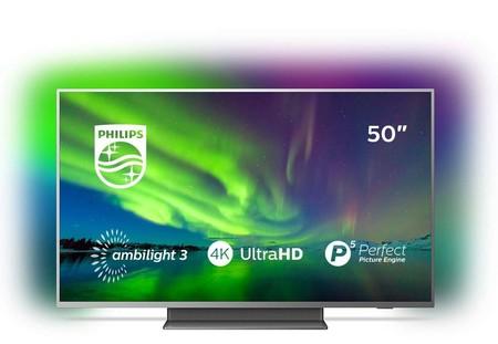 Smart TV Android 4K de 50 pulgadas Philips 50PUS7504/12, con Ambilight, rebajadísima en los Días Sin IVA de MiElectro: por 449 euros