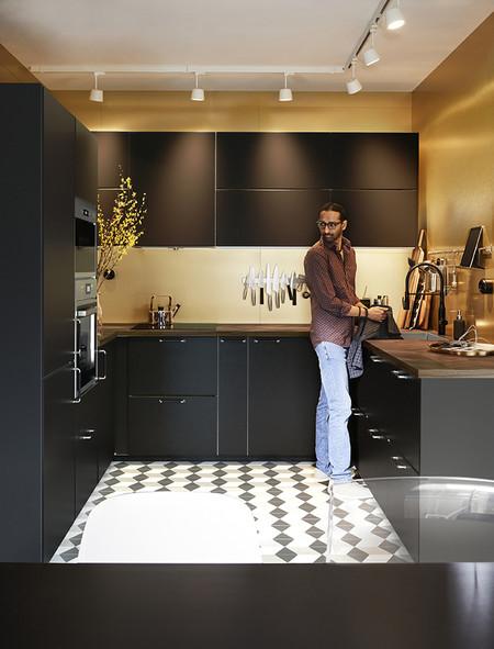 Cocina oro y negro. Ikea catálogo 2020