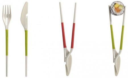 Twin One: cubiertos y palillos, dos en uno