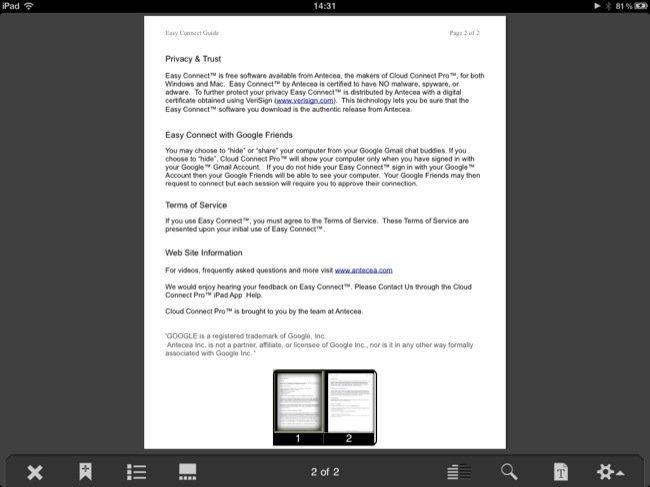 Visor de archivos incluido en la propia aplicación