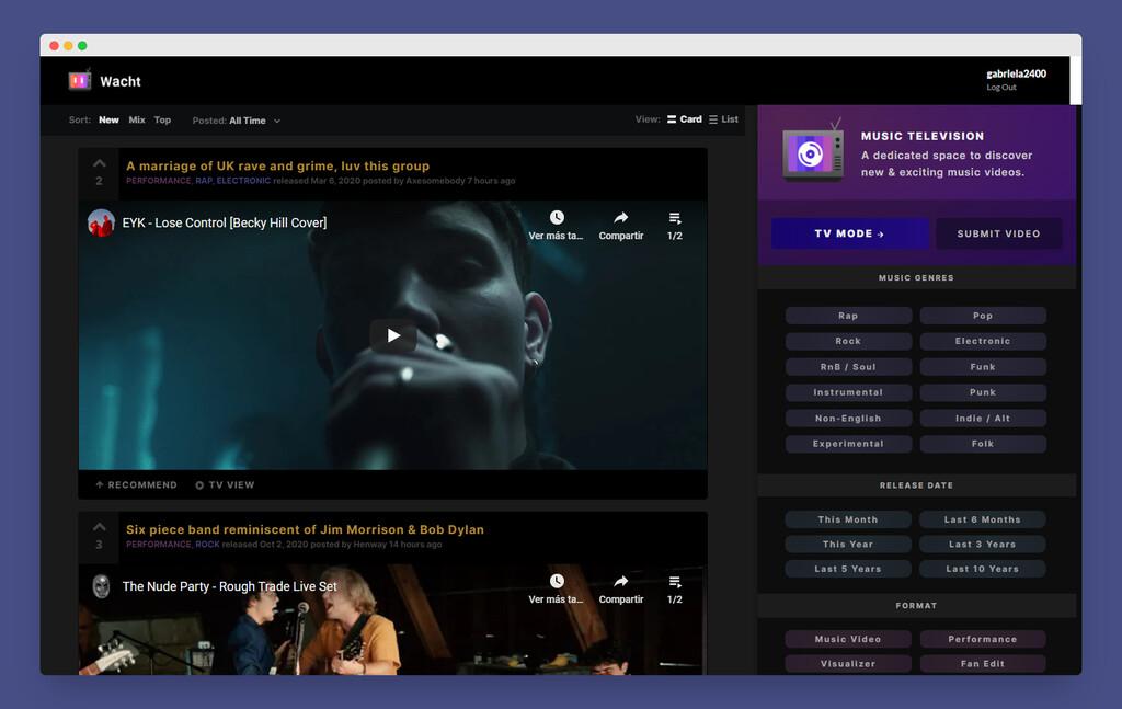 Esta web combina el estilo de Reddit con el MTV de antaño para descubrir nueva música viendo vídeos