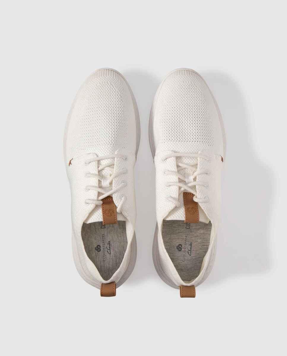 Zapatillas deportivas de hombre Clarks en blanco con cierre de cordones