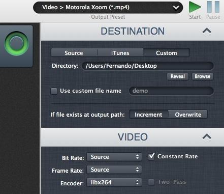 Preajustes, opciones del archivo de destino y opciones de vídeo