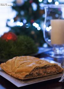 Kulibiak o pastel ruso de salmón. Receta de Navidad