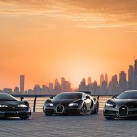 Estas fotos de los Bugatti EB110, Veyron y Chiron rodando por el desierto es de lo mejor que vas a ver hoy