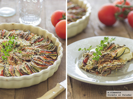Tian provenzal de calabacín, berenjena y tomates. Receta