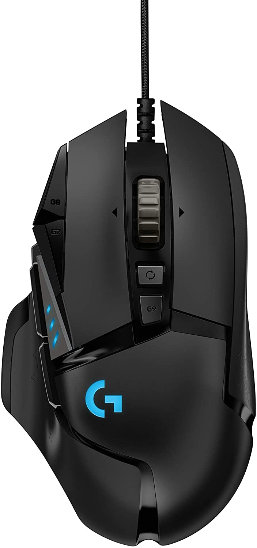 Logitech G - G502 HERO - Mouse de hasta 16,000 DPI, botones programables, peso ajustable, con iluminación RGB para gaming - Negro