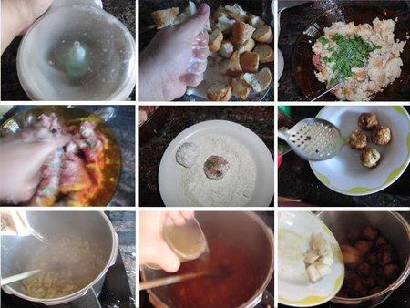 Albóndigas de sepia y carne con guisantes