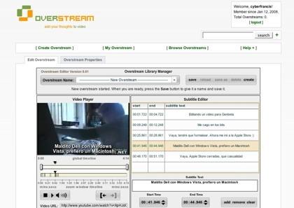 OverStream, añadiendo subtítulos a los vídeos