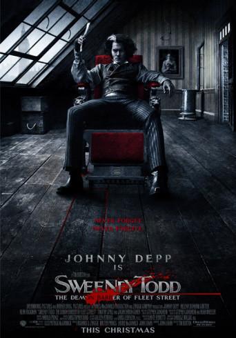 Póster de 'Sweeney Todd', Tim Burton & Johnny Depp