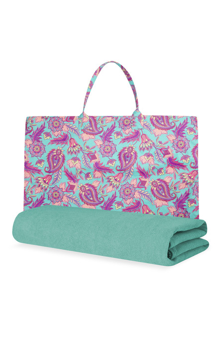 Kimball 7086602 Beach Towel Bag Paisley Turquoise 2c Grade Missing 2c Wk 25 2c Eur12 14 1