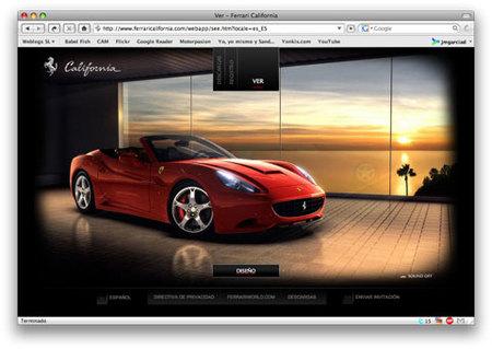 Ferrari California, nuevas funcionalidades en su minisite