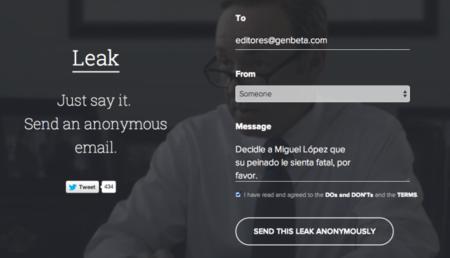 Leak, desahógate enviando correos electrónicos completamente anónimos