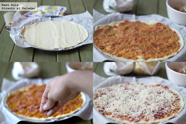 Pizza pisto de verduras y jamón serrano paso a paso