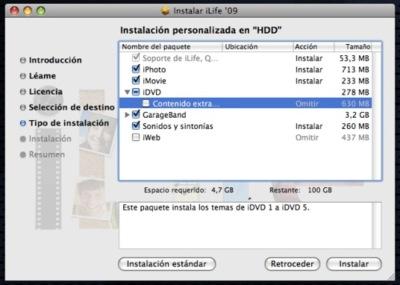 Añade temas de versiones anteriores de iDVD a iLife´09