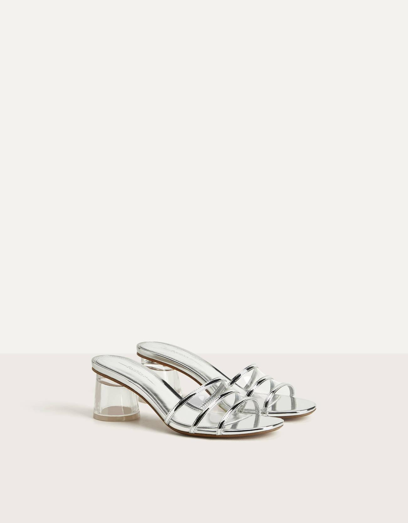 Sandalias de tacón ancho transparente y vinilo