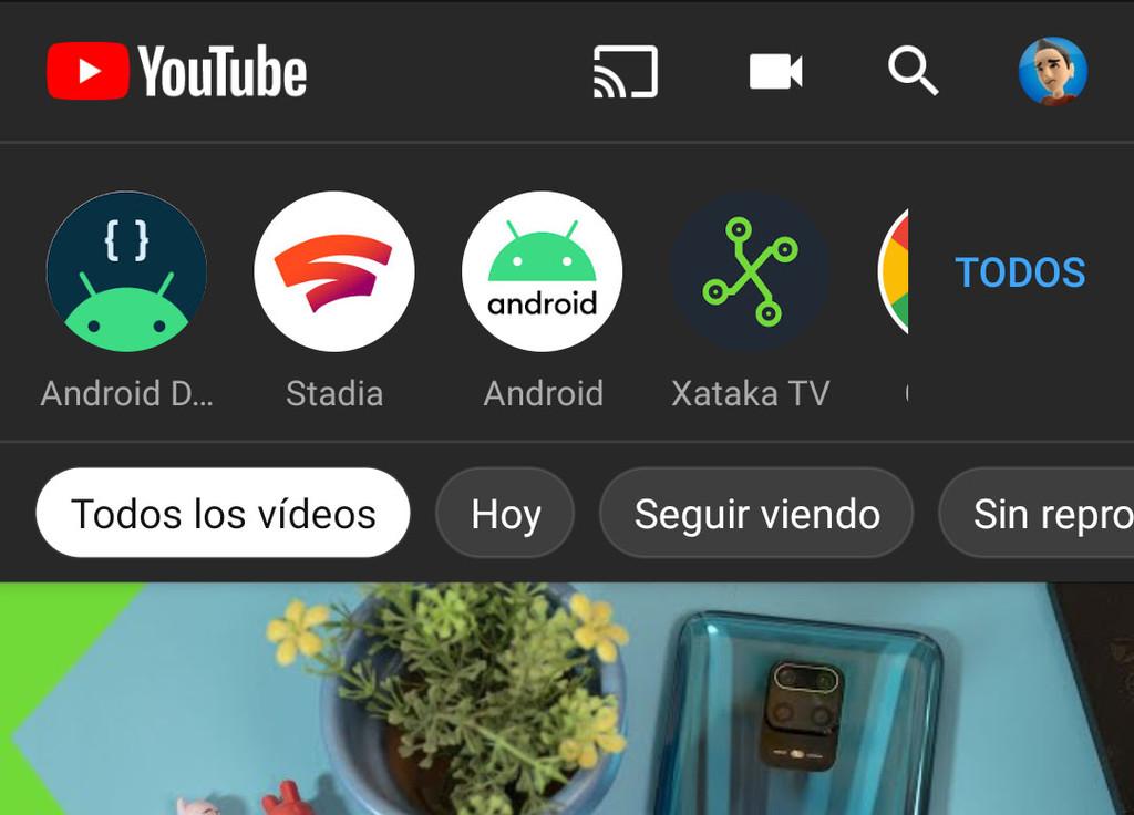 YouTube para Android-OS empieza a accionar mas recientes filtros en la sección de suscripciones
