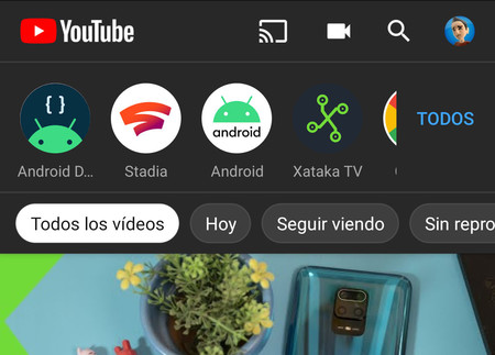 YouTube para Android comienza a activar nuevos filtros en la sección de suscripciones