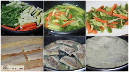 Abadejo Con Verduras Salsa Blanca Pasos