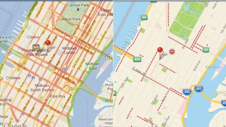 Comparativa mapas de Google e iOS 6