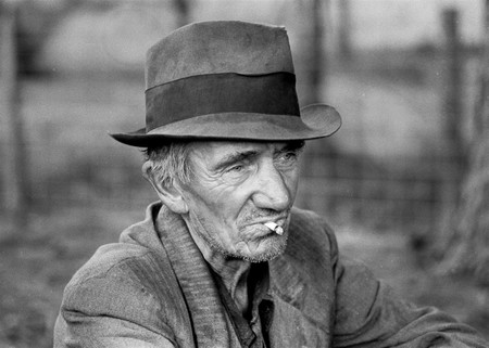 Old Man Hat Poor Smoking Farmer Vintage Retro Photo 625431