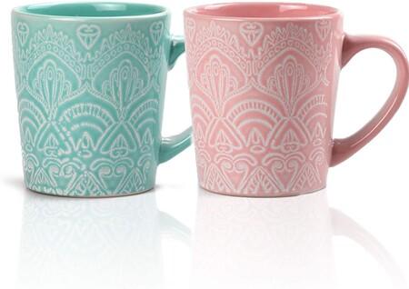 Juego de tazas de café y té (2 unidades, 320 ml), color verde y rosa