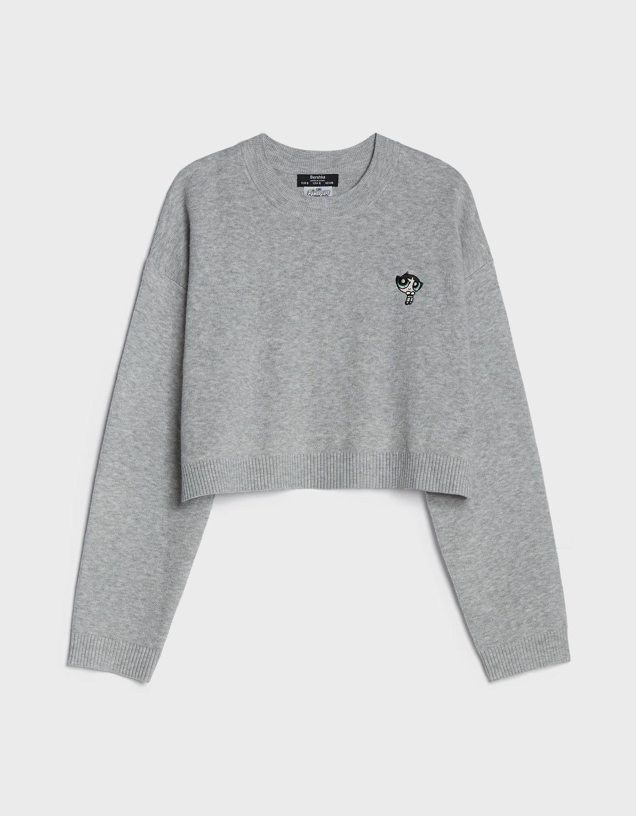 Jersey de punto cropped en gris.