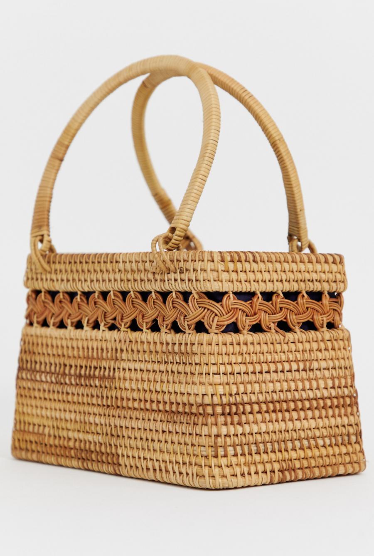Bolso tipo cesta con diseño estructurado de mimbre de ASOS DESIGN