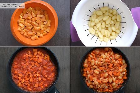 Gnocchi en salsa de boniato con setas. Pasos