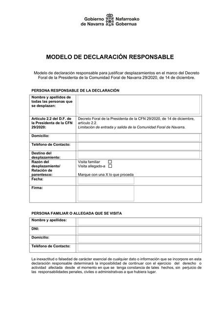 Navarra Declaracion Responsable
