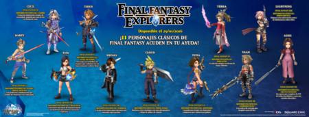 Final Fantasy Explorers Infografia Personajes