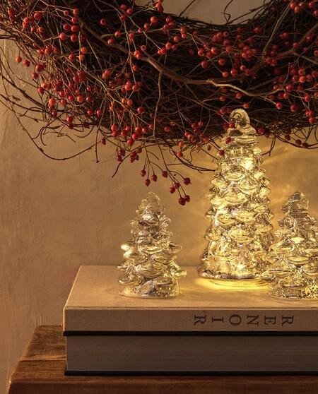 Figura Decorativa De Vidrio En Forma De Arbol De Navidad Con Luz