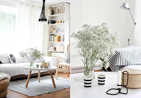 Salón blanco de estilo nórdico