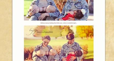 Polémica por las fotografías de dos militares amamantando a sus bebés